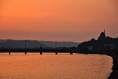 松浦川の夕焼け