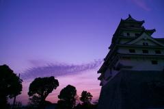 夕暮れの唐津城