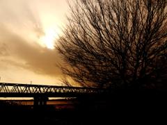 railway river sunset