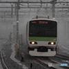 雨中の電車