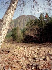 白河原から赤岳を望む