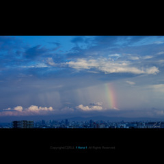 Rainbow-drenched town