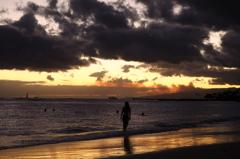 夕暮れ海岸