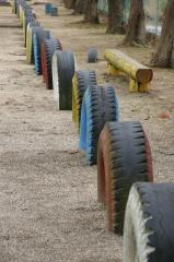 タイヤの列