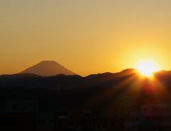 夕日と富士