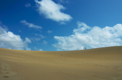 砂丘を歩く二人