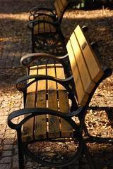 光射す公園のベンチ