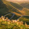 初秋の寒風山道路