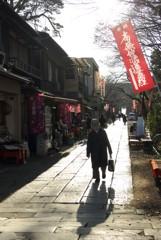 冬の陽ざしと法華経寺参道