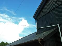 瓦屋根の向こうの空