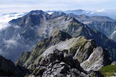 劔岳山頂から立山全山
