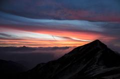 唐松岳頂上山荘からの夕景
