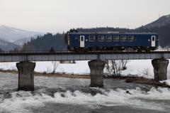 冬の鉄橋を渡る
