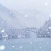 吹き付ける雪と只見線