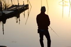 印旛沼・朝景 - 太公望の後ろ姿 -