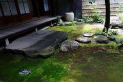 街の情景 - 沓脱石と苔のある中庭 -