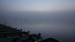 印旛沼・朝景 - 蒼から白へ -
