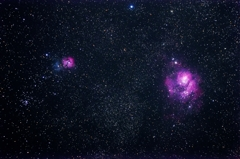 M20(三裂星雲)とM8(干潟星雲)