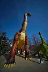 恐竜の足元で