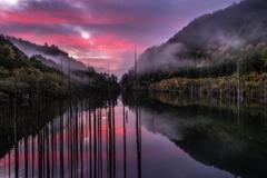 朝焼けの自然湖