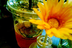 Cold drinks over Flowers