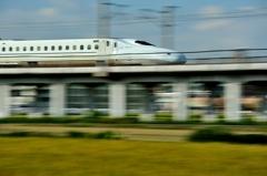 新幹線、流し撮り