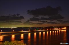 山口県 角島大橋の夜景