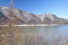 芦別町 雪山とダム