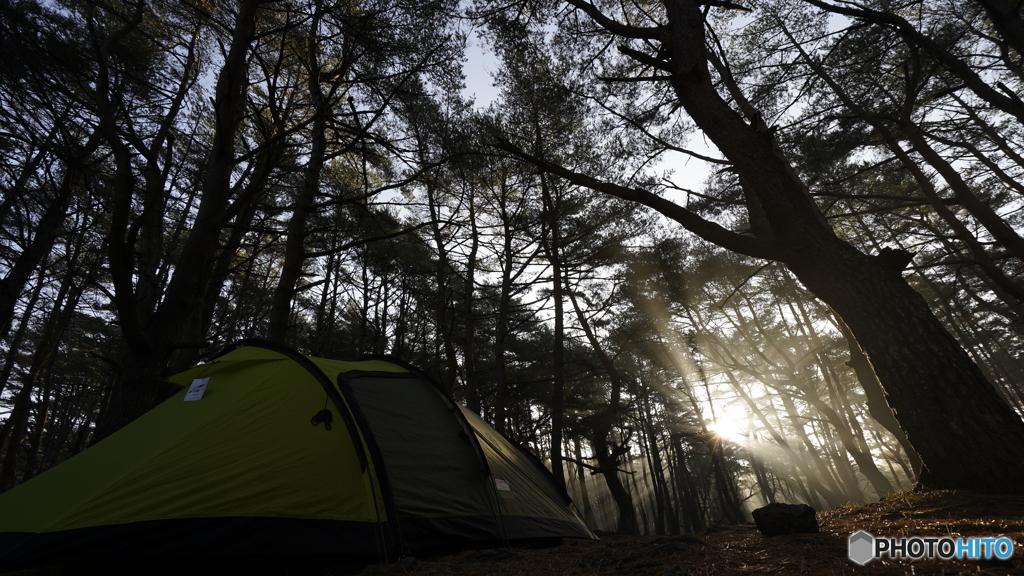真冬の本栖湖キャンプ場