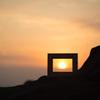夕陽を描く