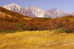 空と山と紅葉と