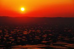 富山 散居村の夕景