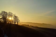 こぼれ落ちる高原の朝霧