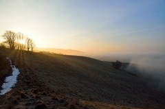 凍てつく高原の朝