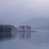 朧げな湖畔の朝