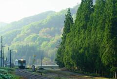 雨上がりの朝、始発列車