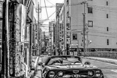 アメ車と中州の街並み