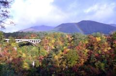 鳴子峡と虹