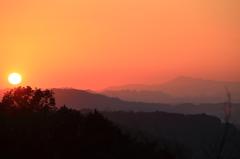 秋夕焼の伊吹山
