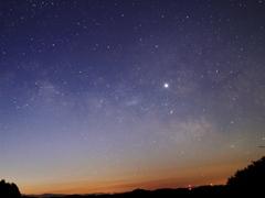 金星と夏の天の川