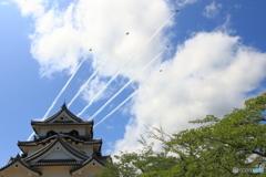彦根城とブルーインパルス