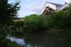 酒蔵と川の夕べ