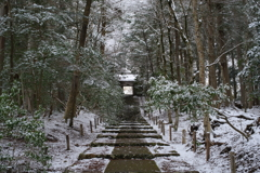 京北、雪の古寺