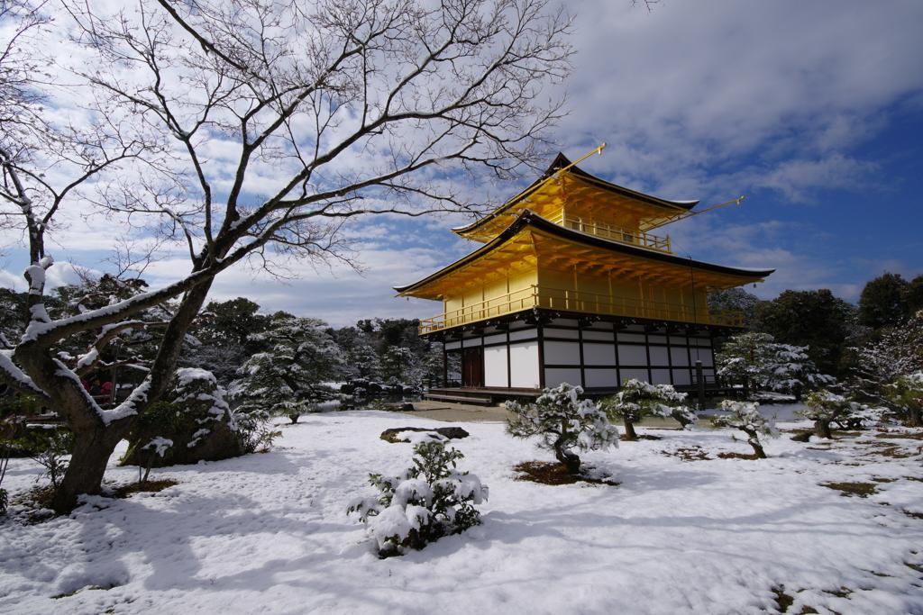 雪晴れの金閣寺