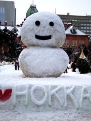 道庁前雪だるま