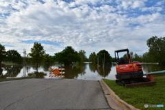 Oklahoma_Texasルートにて洪水で行き止まり