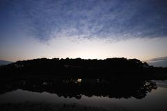 夜明け前の森