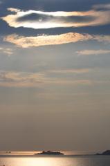 軍艦島の夕景
