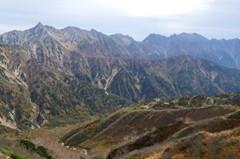 槍穂高連峰と鏡平山荘