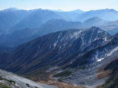 北アルプスの峰々